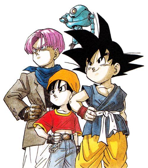 Los personajes principales de Dragon Ball GT diseñados por Akira Toriyama.