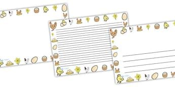 Hen Life Cycle Full Page Borders (Landscape) - page border, border, frame, writing frame, writing template, hen lifecycle page borders, hen lifecycle writing frames, hen, writing aid, writing, A4 page, page edge, writing activities, lined page, lined