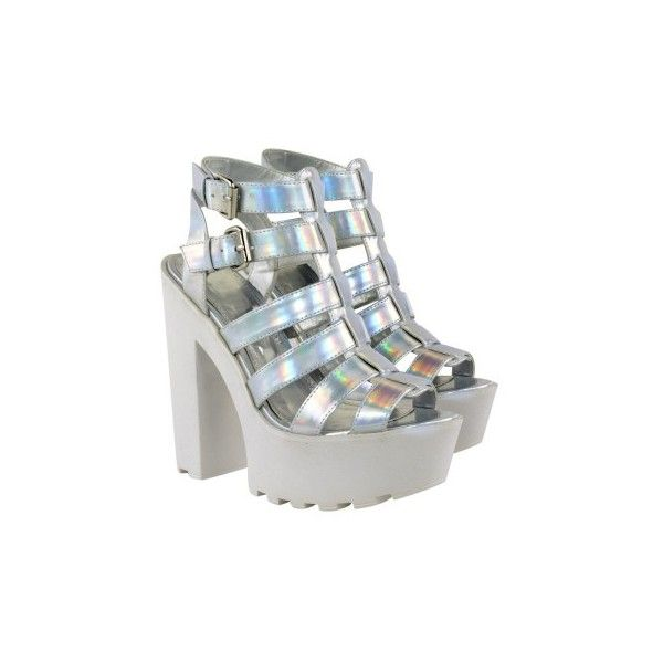 Silver Hologram Cleated Sole High Heel Strappy Shoes Coley ($40) ❤ liked on Polyvore featuring shoes, strap shoes, strap high heel shoes, high heeled footwear, high heel shoes and silver holographic shoes