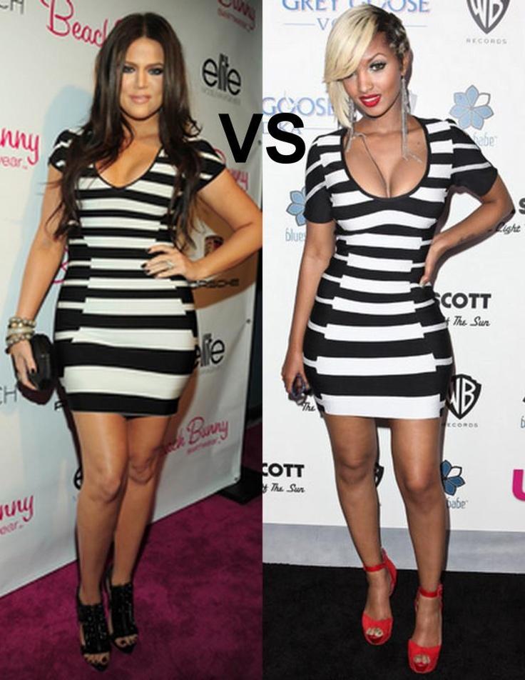 Khloe Kardashian and Lola Monroe in similar striped monochrome dress!