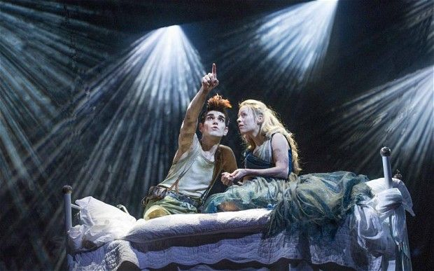 Sam Swann as Peter and Fiona Button as Wendy in 'Wendy and Peter' at Royal Shakespeare Theatre. I saw this at Christmas with my family, and it was wonderful too ^.^