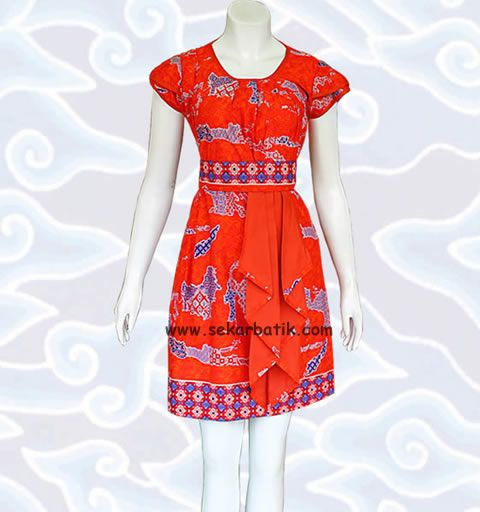 dress batik keren motif Indonesia BD44 di katalog http://sekarbatik.com/dress-batik/