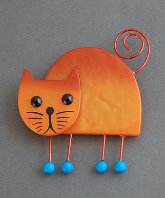 "MARIE-CHRISTINE PAVONE CAT BROOCH.  2.5"" across"