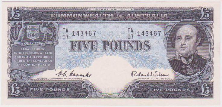 Australian £5 pre-decimal note - Front.