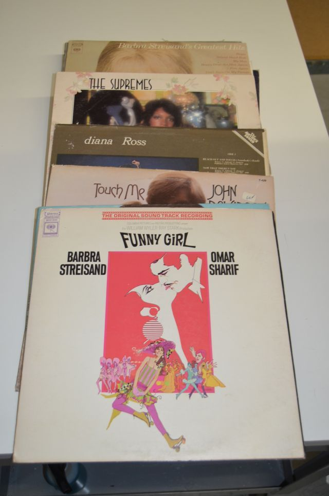Vintage Vinyl record lot including artists such as Grace Jones, John Davidson, Diana Ross, Barbra Streisand, Barry White, Cass Elliot, Bette Midler