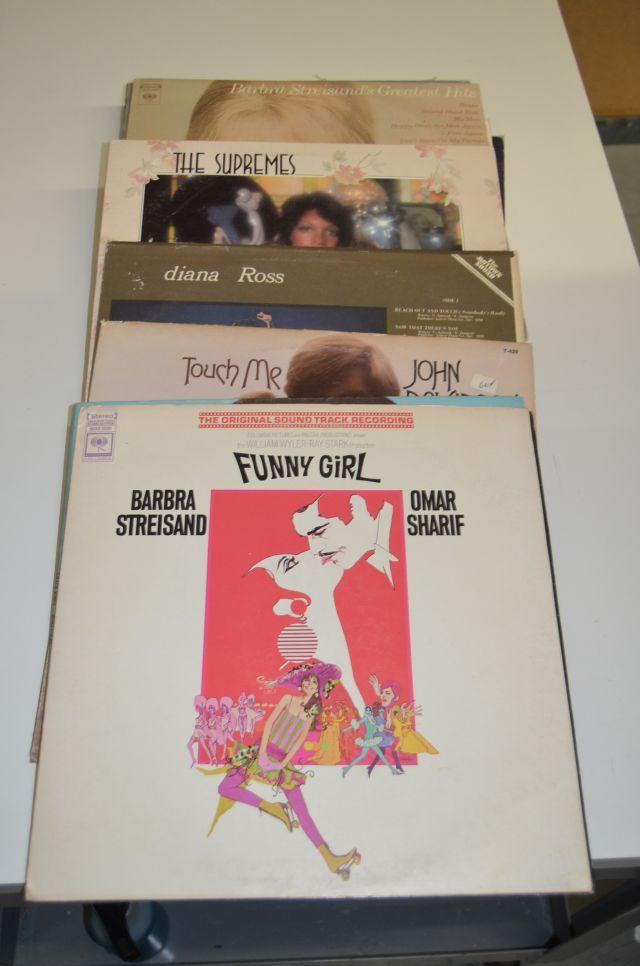 Vintage Vinyl record lot including artists such as Grace Jones, John Davidson, Diana Ross, Barbra Streisand, Barry White, Cass Elliot, Bette Midler