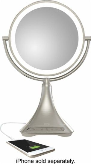 "iHome - 9"" Double-sided Vanity Mirror with Built in Bluetooth Speaker - Silver nickel - AlternateView11 Zoom"