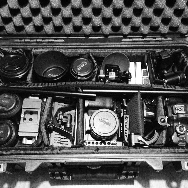 """""""One fully loaded @Peli_uk 1510 case with #SonyA7s #Canon650D & assorted lenses, an @movcam cage, follow focus & matte box rig, @Zacuto #Zfinder @rodemics…"""""""