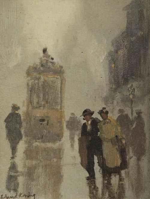 A street scene with a tram, Edzard Willem Koning. Dutch (1869 - 1954)