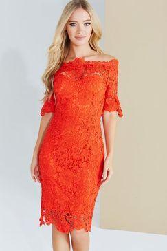 **Paper Dolls Red Crochet Lace Bardot Dress