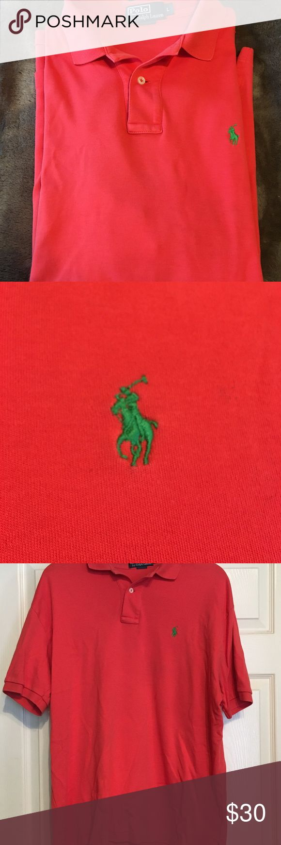 Men's short sleeve Polo Hardly worn men's Polo, short sleeve. Coral with green polo horse Polo by Ralph Lauren Shirts Polos