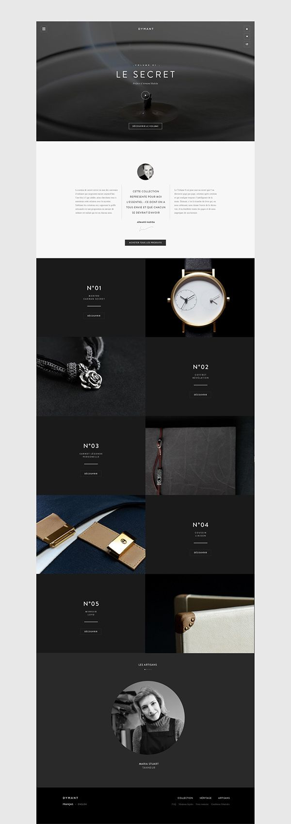 Dymant: concept of a private member club, the website features a high-end responsive e-commerce experience designed to provide an immersive point of view to luxury objects, by Jonathan De Costa on Behance