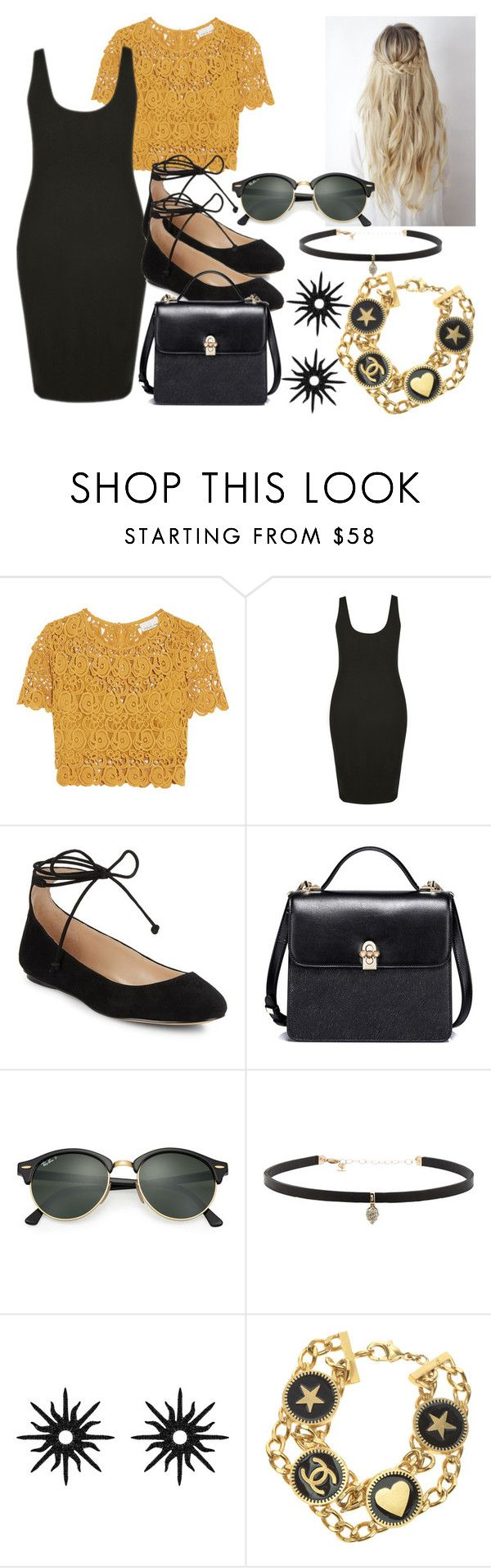 """""""Sem título #10"""" by kauani ❤ liked on Polyvore featuring Miguelina, Karl Lagerfeld, Ray-Ban, Carbon & Hyde, Christina Debs and Chanel"""