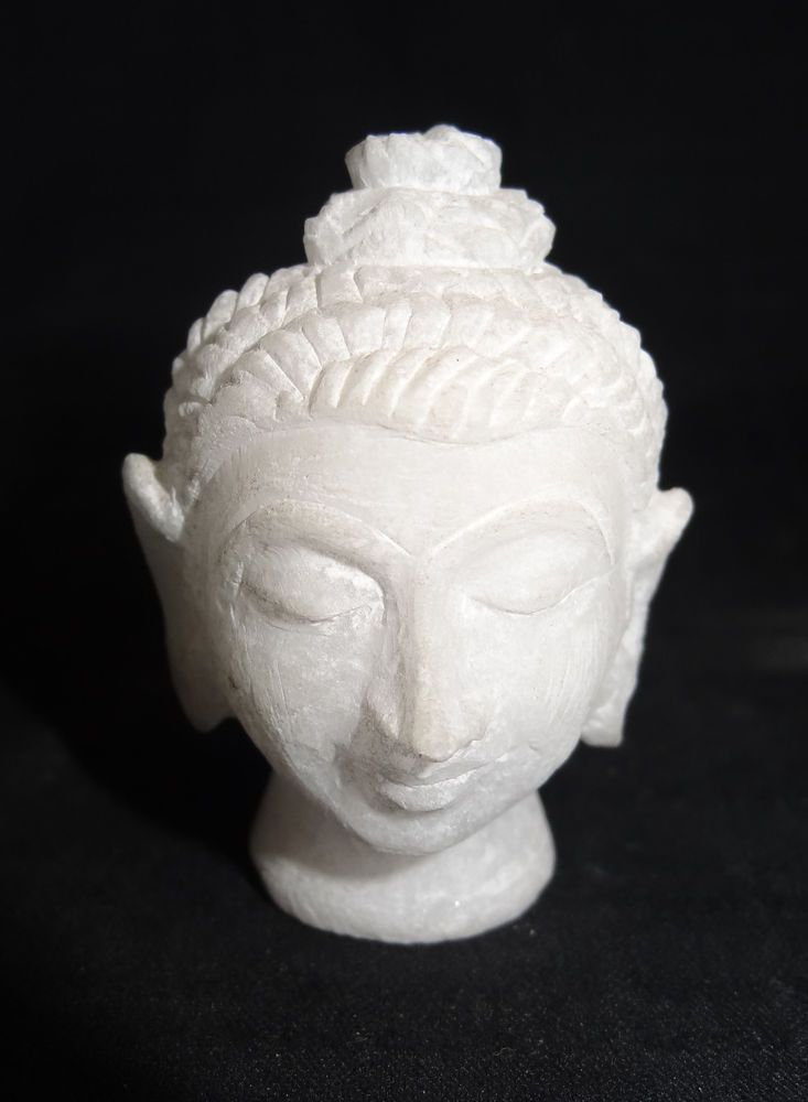 BLACK MARBLE BUDDHA STATUE CALM BLESSING POSTURE HANDMADE ARTS AND CRAFTS