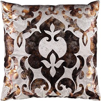 Large Bronze & Silver-Toned Damask Cushion