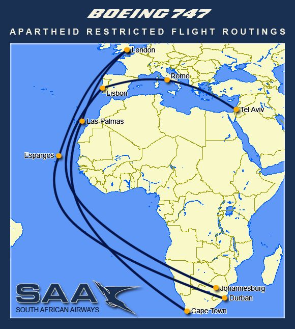 The effects of geopolitics on travel - South African Airways flight routes during apartheid era