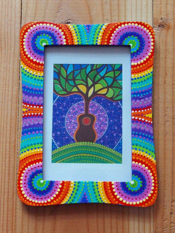 Eco friendly, colourful hand painted photo frame with Guitar Tree print. $15.00, via Etsy.