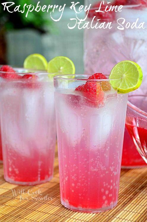 Raspberry Key Lime Italian Soda: 1 lb of Raspberries, 1 cup of White Granulated Sugar, 2 Key Limes, 1/3 cup of Water, Club Soda
