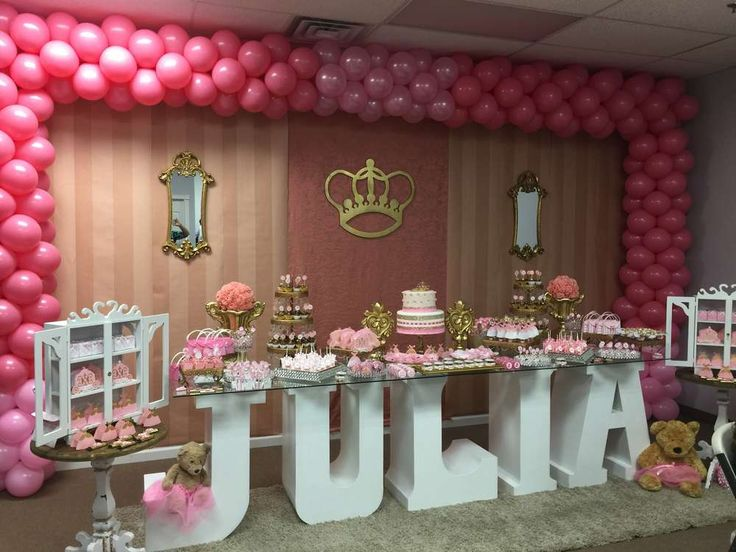Pink dessert table and balloons at a princess birthday party! See more party planning ideas at CatchMyParty.com!