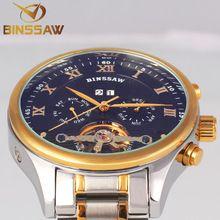 Fashion Luxury Brand BINSSAW Men Watch Tourbillon Hollow Calendar Automatic Mechanical Wristwatch For Male With Original Box Gif(China (Mainland))