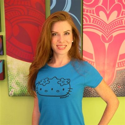 N!Satterfield Original - Get it at DoodleKanoodle.com - Blue 3-Eyed Kitty T-Shirt