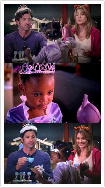 Derek Shepherd (Patrick Dempsey), Zola & Meredith Grey (Ellen Pompeo) tea party. Grey's Anatomy.