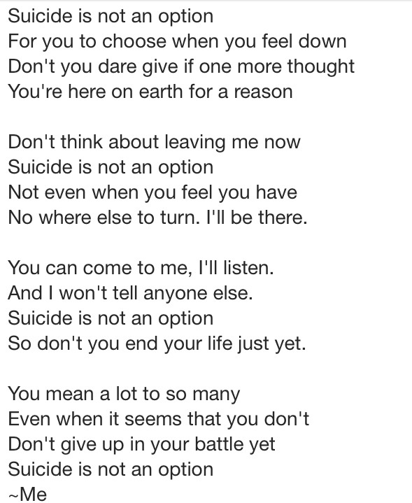 A Poem I Wrote For A Friend Who's Thinking About Suicide