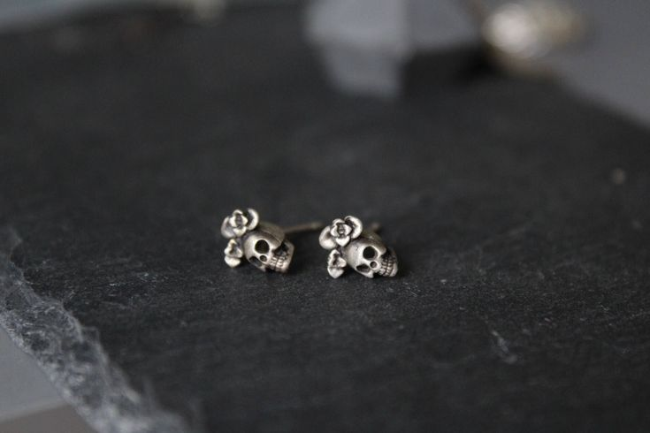 Excited to share the latest addition to my #etsy shop: Sugar skull earrings-Dia de los muertos-Skull jewelry-Tiny skull earrings -Sugar skull jewelry-Frida Kahlo earrings-Gothic earrings for her