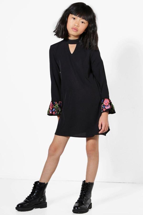 boohoo Girls Embroidered Cuff Sleeve Choker Dress