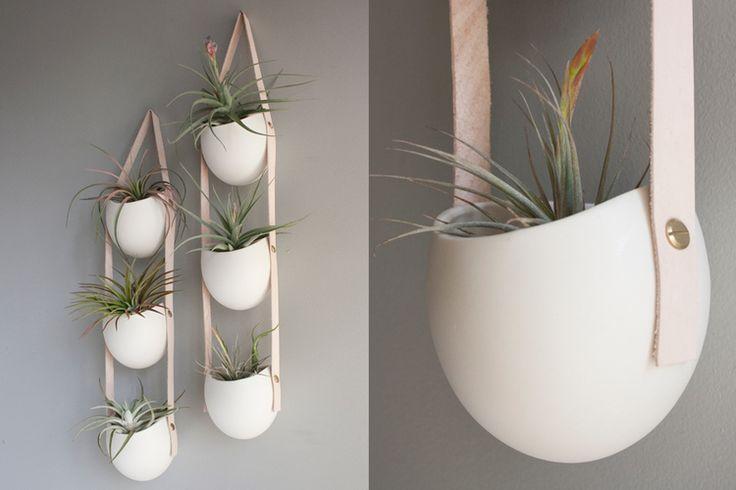 Spora: 3-Tier Ceramic + Leather Planter from Light + Ladder   ON CAROLE + ELLIE