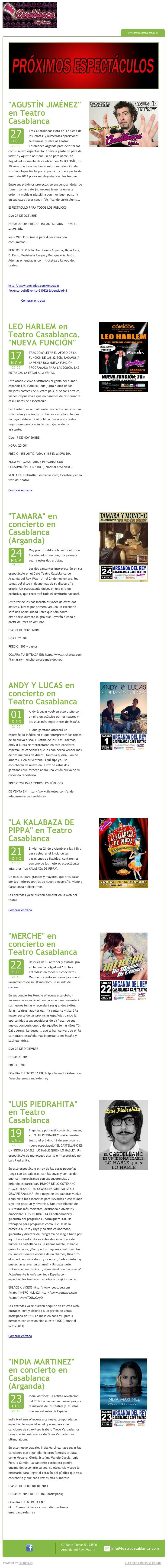Teatro Casablanca, Arganda del Rey, Madrid, envia su programación mediante newsletter utilizando OcioUno; la plataforma tecnológica para locales de coio nocturno.