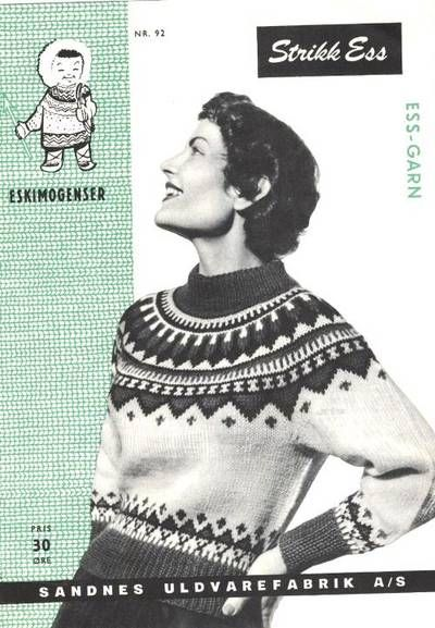 "The original HandKnitt Pattern for the ""Eskimo"" sweater from Unn Søiland, LILLUNN's first big succsess as designer. Two years before the Marius-sweater. Her she herself as model on the pattern frontpage in 1951."