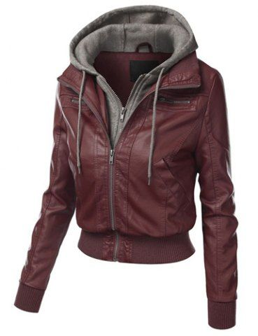 Chic Hooded Long Sleeve Faux Twinset Pocket Design Women's Jacket