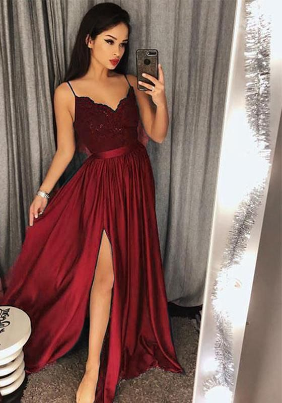 Awesome Sexy Slit Prom Dresses 2018 Spaghetti Straps Girls Long Party Gown M2500