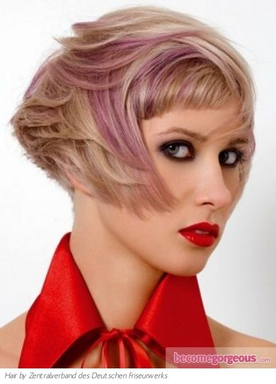 Chic Pink Hair Highlights. Love the angular cut. Edgy and girly