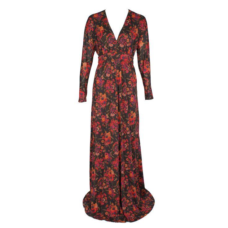 #galliano #johngalliano #marinamall #greenbird #couture #abudhabi #abudhabistyle #abudhabifashion #abudhabistyle #dubai #dubaifashion #dubaistyle #womenswear #fall2013 #winter2014 #fw2014 #prefall #dress #eveningdress #eveninggown #vneck #lowcut #floralprint #floral #longdress #longsleeveddres