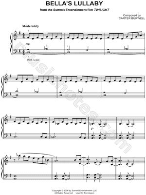 """""""Bella's Lullaby"""" from 'Twilight (Movie)' Sheet Music (Easy Piano) (Piano Solo) - Download & Print"""