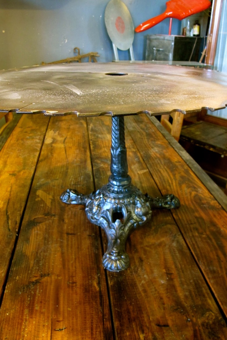 Saw Blade Table Sanded Down Love The Ornate Pedestal And Industrial Top From Country Roads
