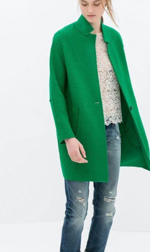 женское зеленое пальто сезона весна 2016