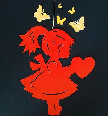 Kleines Mädchen - Fensterbild aus Tonkarton - Handarbeit - NEU