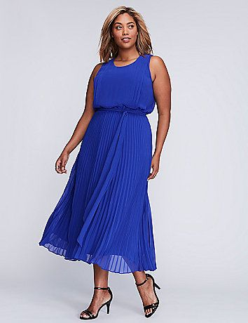 Pintuck pleats perfectly complement more pleats on this dress. Plus, it has a subtle blouson effect thanks to the draping and elastic waist. Button keyhole back. Matching self-tie belt. Lined. lanebryant.com