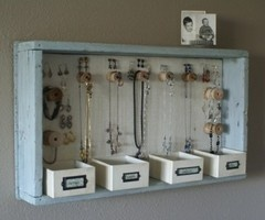Jewelry Organizer You can use a wood tray, several bins and wooden