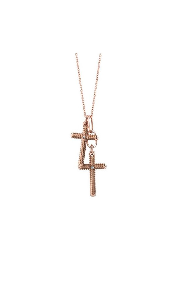 Pink gold and diamond cross necklace