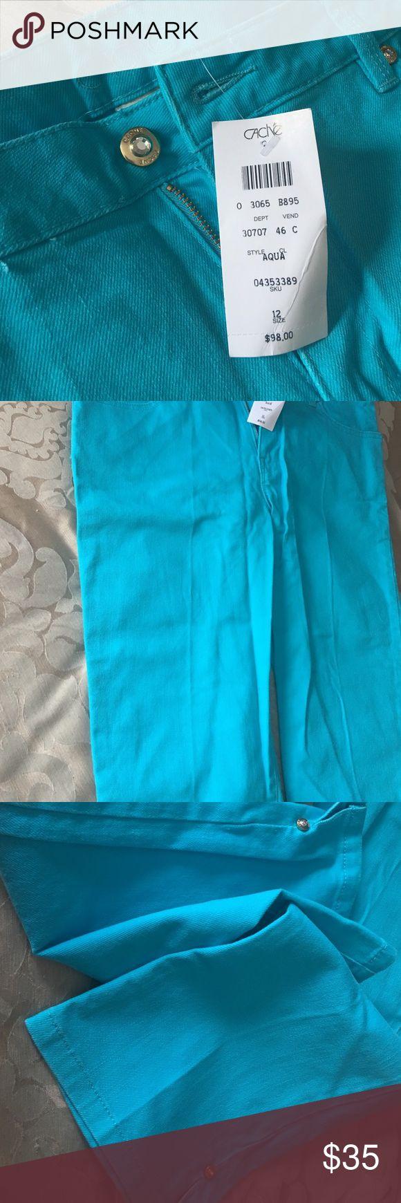 Skinny capri never worn Cache Skinny light aqua jeans capri size 12 Cache Jeans Skinny