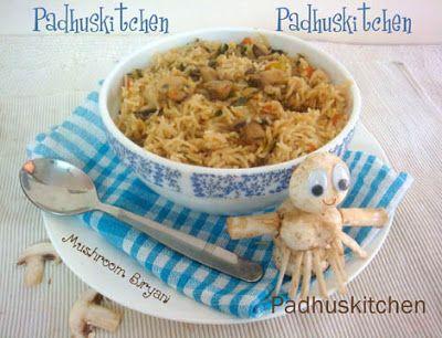 Padhuskitchen: Mushroom Biryani-Mushroom Biryani Recipe