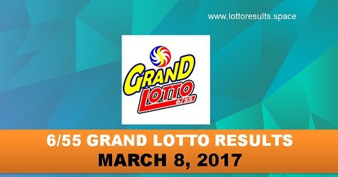 6-55 GRAND LOTTO RESULTS MARCH 8, 2017 WEDNESDAY