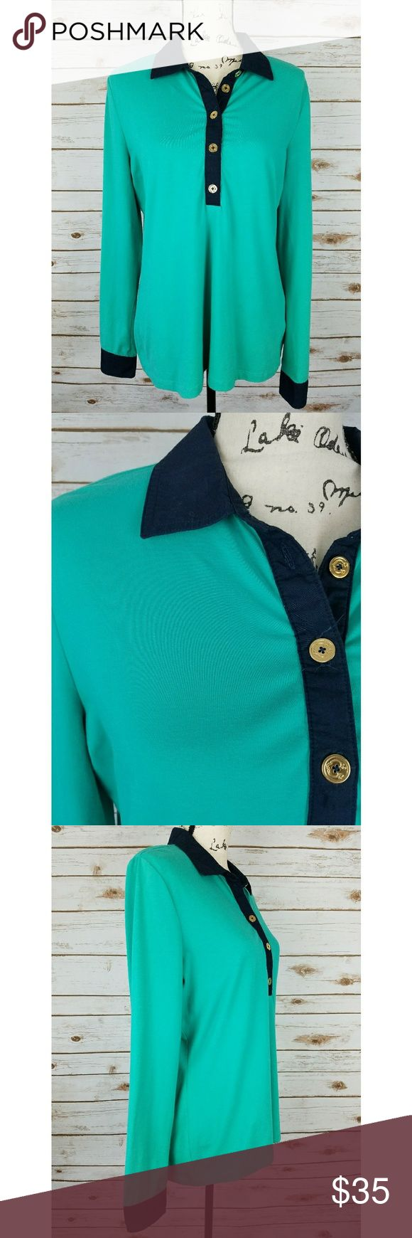 C Wonder Preppy Collared Long Sleeve Turquoise Excellent condition, no stains or flaws. This is perfect for back to school, very preppy and adorable. This brand is sold independently and at Anthropologie   Reasonable offers will be considered, bundles are discounted. No trades and no modeling. I can ship same or next day. Anthropologie Tops Blouses