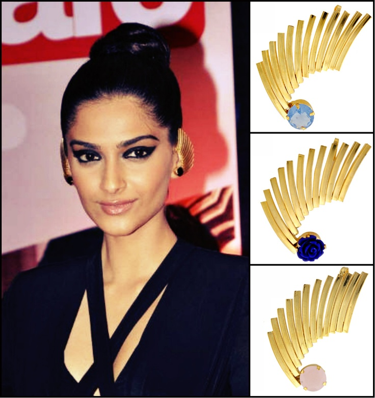 GET THIS LOOK: Sonam Kapoor looking stunning flaunting ear cuffs by Valliyan by Nitya Shop them now https://www.perniaspopupshop.com/designers-1/valliyan-by-nitya-arora