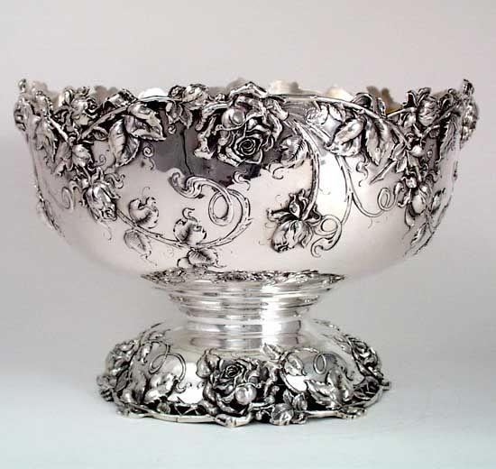 Bailey, Banks & Biddle Art Nouveau Sterling Silver Punch Bowl