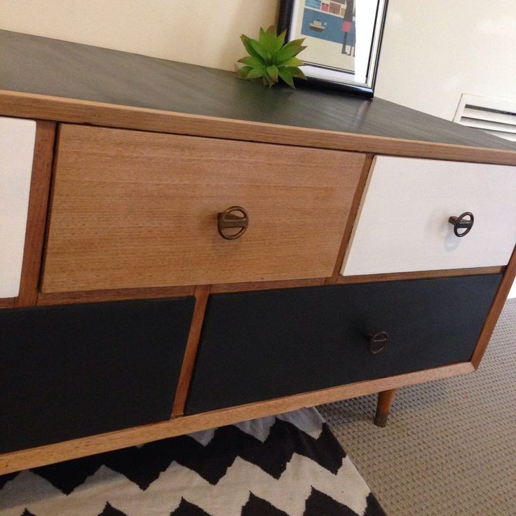 Upcycled furniture retro modern chest of drawers. Blonde wood black and white living room bedroom. Chevron rug. Scandinavian minimalist design furniture. Furniture upcycled by revolving_attic Genuine vintage furniture.